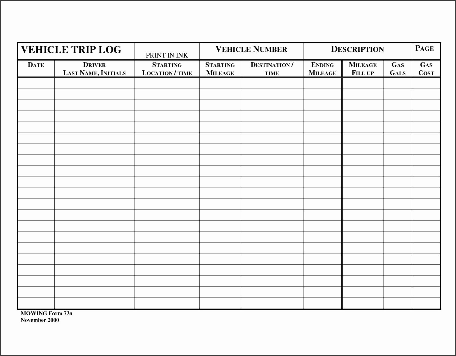 10 Car Mileage Log Template Sampletemplatess With Office Log Book Template