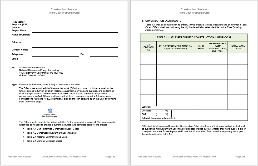 14 Free Construction Proposal Templates In Ms Word Templates In Cost Proposal Template