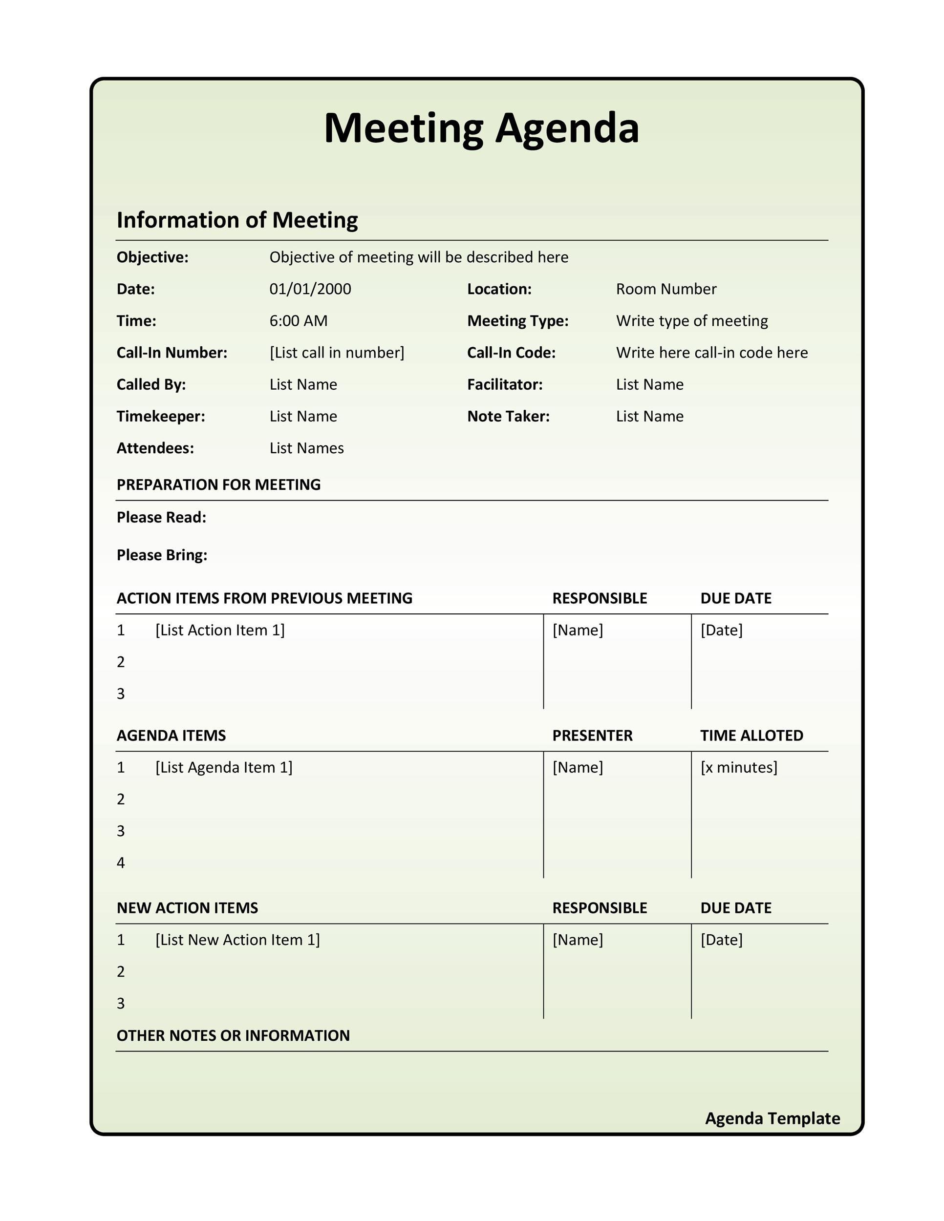 46 Effective Meeting Agenda Templates ᐅ Templatelab Within 1 On 1 Meeting Agenda Template