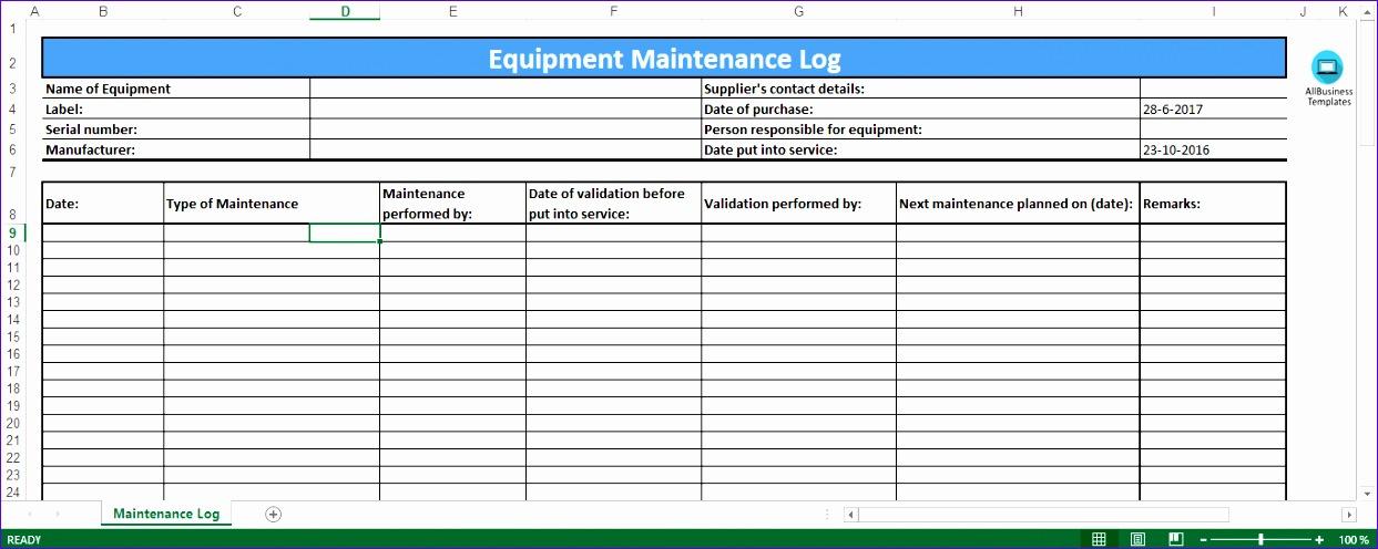 6 Preventive Maintenance Template Excel Excel Templates Regarding Building Maintenance Log Template