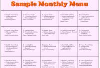 8 Best Printable Preschool Lunch Menu Printablee Throughout Daycare Menu Template