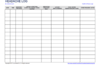 Download The Headache And Migraine Log From Vertex42 Within Pain Log Template