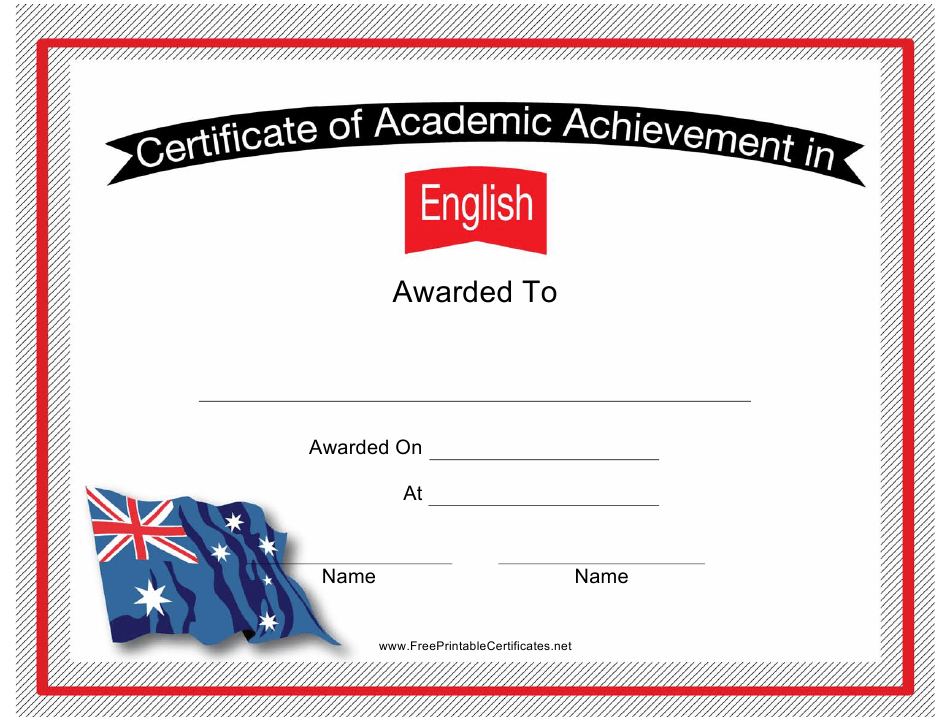 English Language Academic Achievement Certificate Template With Regard To Academic Achievement Certificate Template