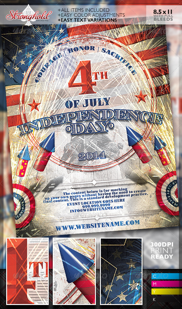 Vintage 4Th Of July Event Flyer Templategetstronghold With Regard To 4Th Of July Menu Template