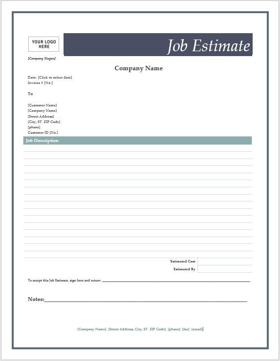Free Estimate Template | Template Business Inside Free Commercial Construction Estimate Template